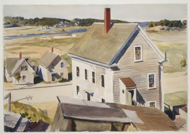 Edward Hopper, House by Squam River, Gloucester, Cape Ann, Massachusetts, 1926_Aquarelle et mine de plomb sur papier, 34,3x48,4cm_Boston, Museum of Fine Arts